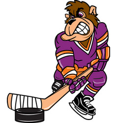 Gorilla sports hockey logo mascot vector