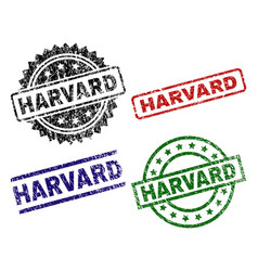 Grunge textured harvard stamp seals vector