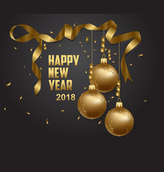 Happy new year 2018 gold and black collors place vector