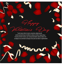 happy valentines day card with flower rose petals vector image