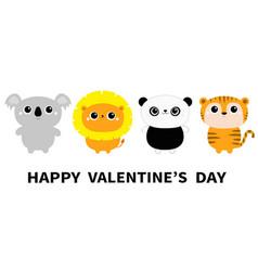 happy valentines day koala lion panda bear tiger vector image