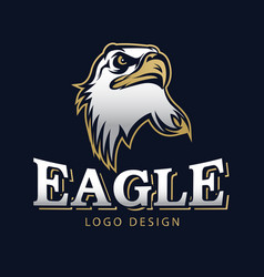 hawk eagle head usa americs logo mascot 12 vector image