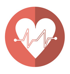 Heart beat pulse cardiac medical shadow vector