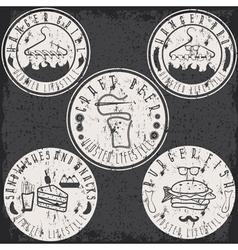 hipster style food labels grunge vintage set vector image