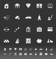 Insurance related icons on gray background vector image