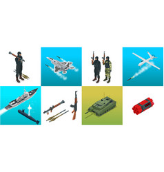 Isometric icons submarine aircraft soldiers set vector