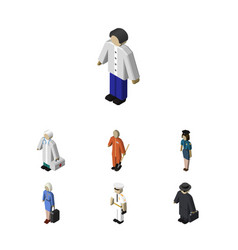 isometric people set of seaman detective hostess vector image