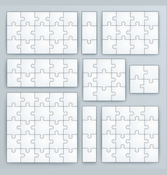 Jigsaw puzzle templates set of puzzle vector