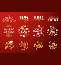 joy and happy holidays merry christmas lettering vector image