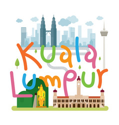 Kuala lumpur malaysia travel and attraction vector