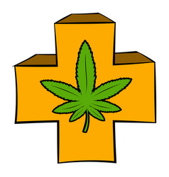 Marijuana leaf on a red cross icon cartoon vector