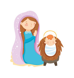 mary praying and bajesus manger nativity merry vector image