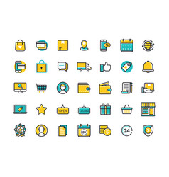 minimal modern thin icons for online shopping vector image