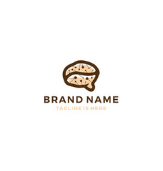 neuro coffee bean brain smart logo template vector image