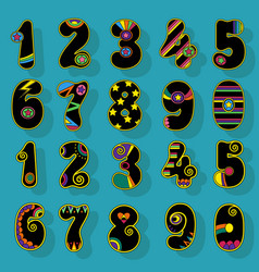 numbers set black signs with colorful decor vector image