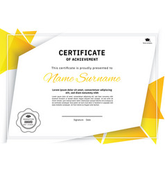 official white certificate with yellow triangle vector image