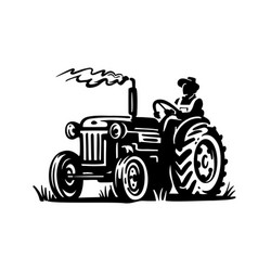 old tractor together with a farm worker vector image