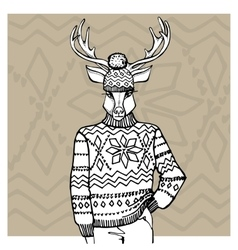 Outline deer in Jacquard hat sweaterWinter vector image