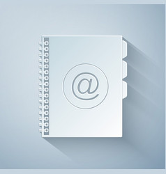 Paper cut address book icon isolated on grey vector