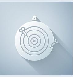 Paper cut classic dart board and arrow icon vector