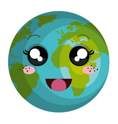 planet earth kawaii character vector image