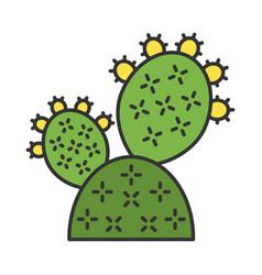 Prickly pear cactus color icon vector