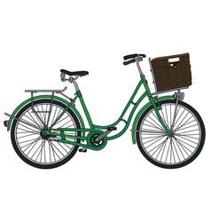 Retro green bicycle vector