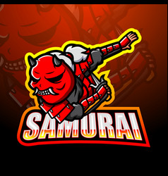 Samurai mascot esport logo design vector