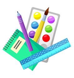 School supplies paintbrush and palette ruler set vector