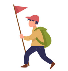 scout walking with red flag on pole traveling boy vector image