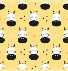 Seamless pattern with cute cartoon zebras decor vector