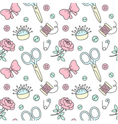 seamless pattern with hand drawn sewing doodle vector image
