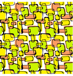 seamless pop art 1960s ink drawn patternhand vector image