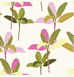 seamless tropical green and pink leaves pattern vector image