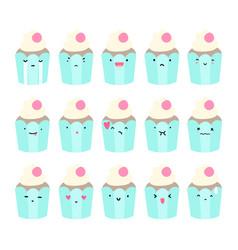 Set cupcake emoji vector