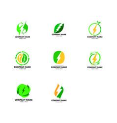 set green power energy logo design element vector image