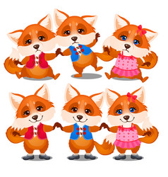 set happy and sad animated foxes isolated on a vector image