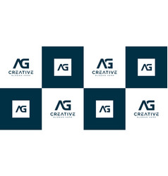 Set initials letter ag abstract logo vector