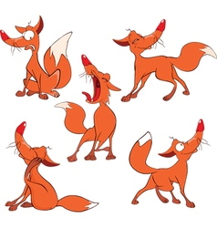 set of Funny Red Foxes Cartoon vector image
