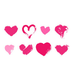 set of hand drawn pink hearts with grunge texture vector image
