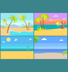 Set tropical islands palm trees endless sea vector