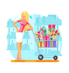 Shop cart shopping woman purchase gift flat design vector
