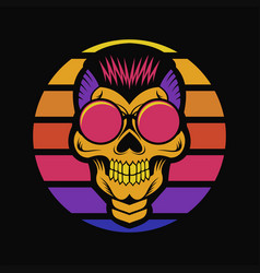 skull sunset retro vector image