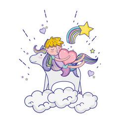 Sleeping boy riding unicorn with heart vector