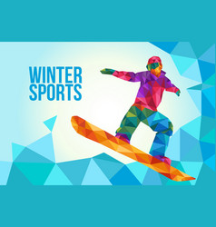 snowboarding poster in low polygon style vector image