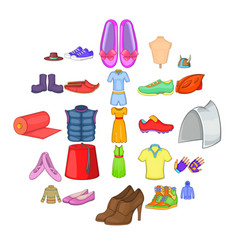 sport shoes icons set cartoon style vector image