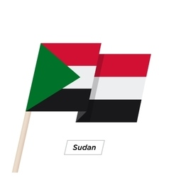 Sudan Ribbon Waving Flag Isolated on White vector