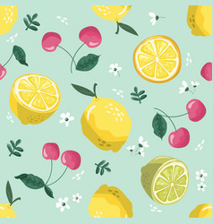 summer seamless pattern with lemons cherry vector image