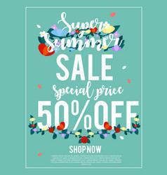 Super summer sale 50 off banner for advertisement vector