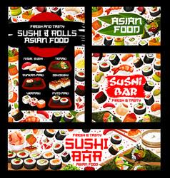 Sushi rolls menu japanese restaurant and bar vector